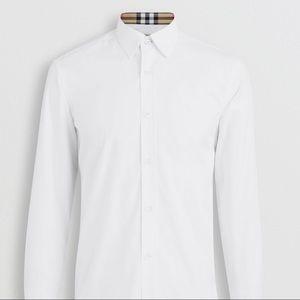 BURBERRY MEN WHITE POPLIN BUTTON DOWN DRESS SHIRT